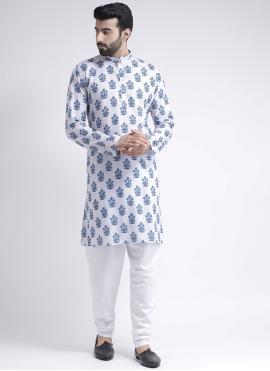 White Cotton Printed Kurta Pyjama
