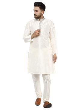 White Embroidered Wedding Kurta Pyjama