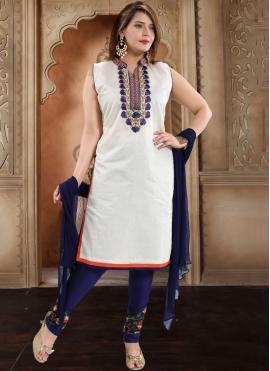 White Festival Silk Trendy Churidar Salwar Kameez