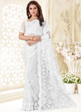 White Net Traditional Saree