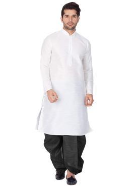 White Plain Art Dupion Silk Kurta Pyjama