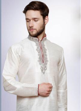 White Reception Art Dupion Silk Kurta Pyjama