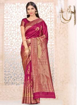 Wine Banarasi Silk Weaving Traditional Designer Saree