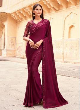 Wine Ceremonial Silk Designer Traditional Saree