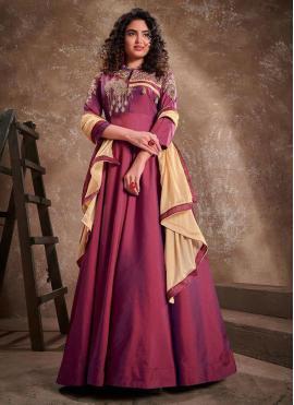 Wine Embroidered Silk Readymade Anarkali Salwar Suit