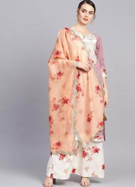 Wine Faux Crepe Print Readymade Suit