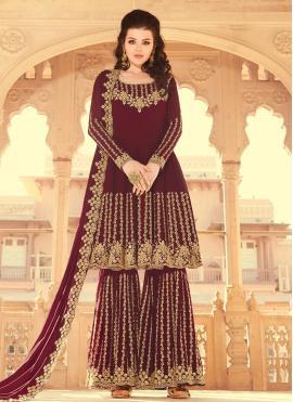 Wine Faux Georgette Embroidered Designer Pakistani Salwar Suit