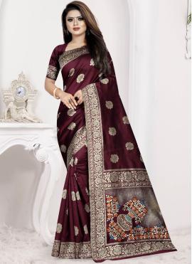 Wine Weaving Art Silk Traditional Designer Saree