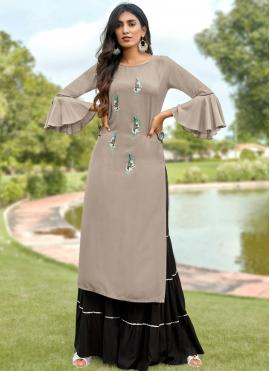 Winsome Embroidered Rayon Grey Party Wear Kurti