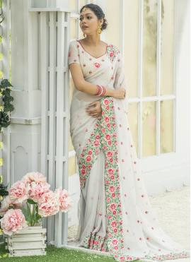 Winsome Embroidered Silk Traditional Designer Saree
