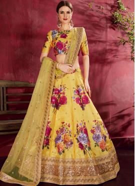 Winsome Floral Print Wedding A Line Lehenga Choli