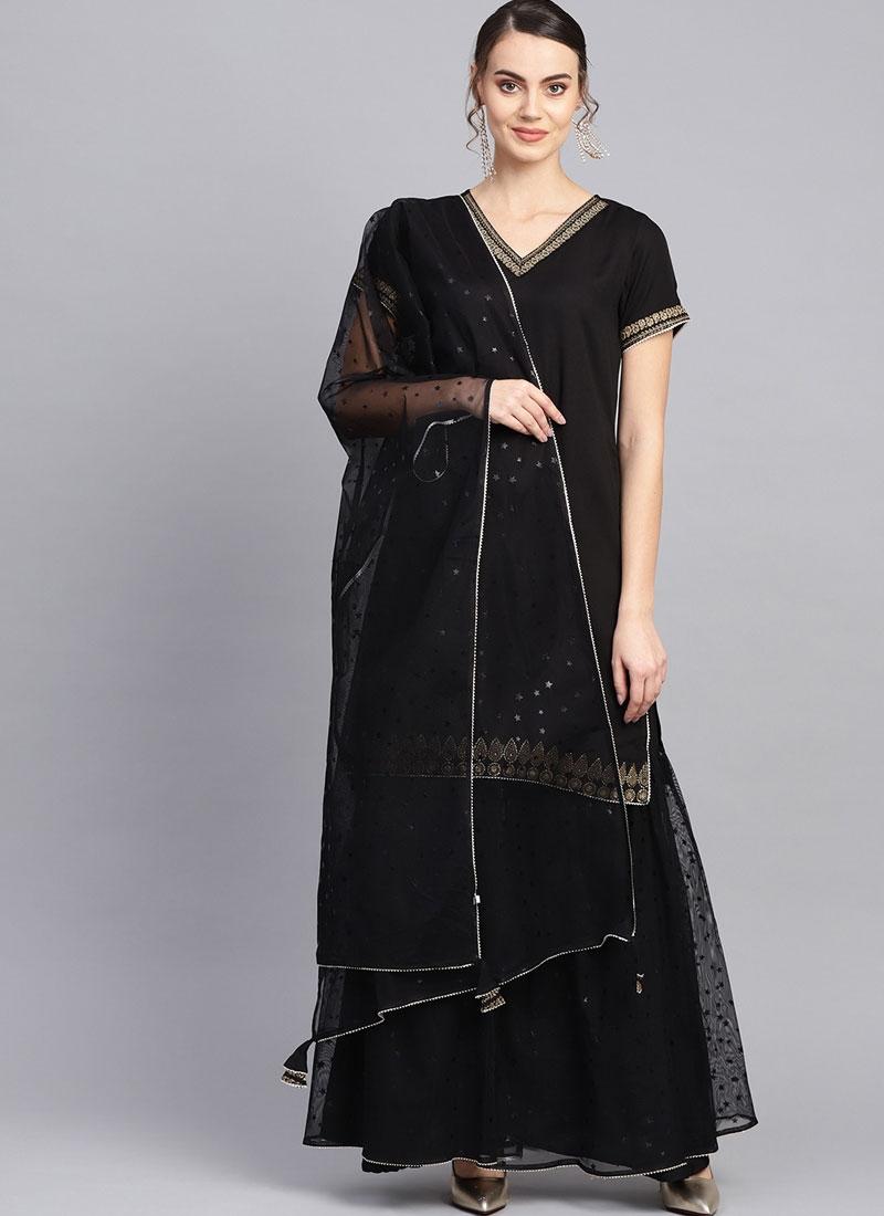 Winsome Net Fancy Black Readymade Suit