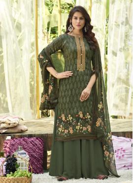 Wonderous Cotton Digital Print Green Designer Palazzo Suit