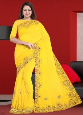 Wonderous Faux Georgette Yellow Embroidered Trendy Saree