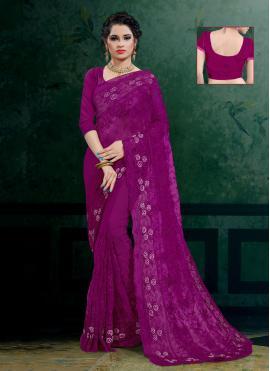 Wonderous Purple Embroidered Designer Saree