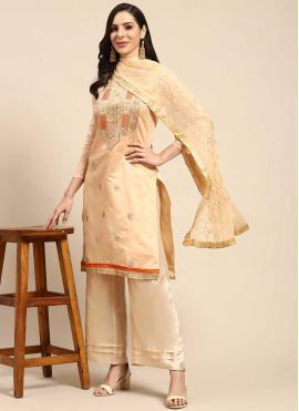 Wonderous Silk Fancy Beige Designer Palazzo Salwar Kameez