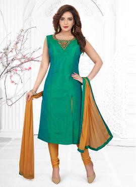 Wonderous Silk Handwork Churidar Designer Suit
