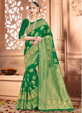 Woven Art Banarasi Silk Traditional Designer Saree in Green