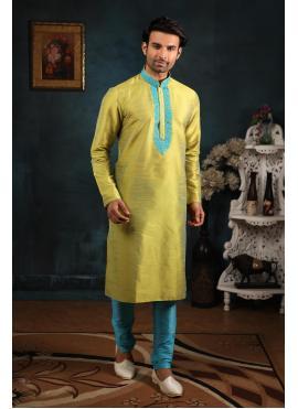 Yellow Art Banarasi Silk Kurta Pyjama