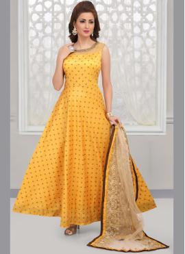 Yellow Art Silk Anarkali Salwar Kameez