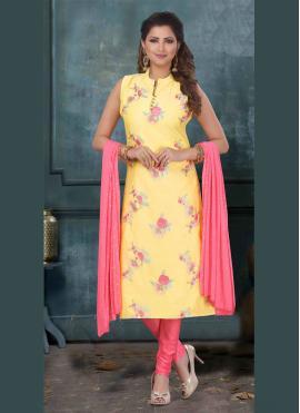 Yellow Art Silk Bollywood Salwar Kameez