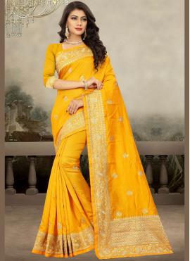 Yellow Art Silk Classic Designer Saree