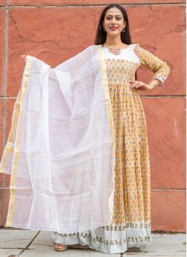 Yellow Block Print Linen Readymade Suit