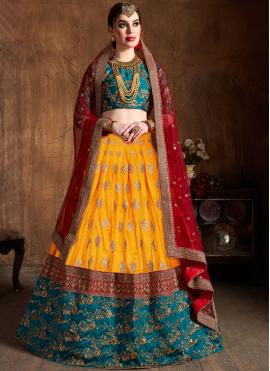Yellow Bridal Art Silk Lehenga Choli