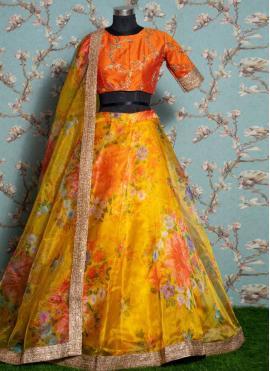 Yellow Ceremonial Khadi Trendy Lehenga Choli