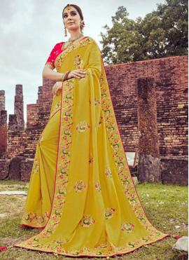 Yellow Color Shaded Saree