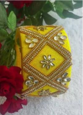 Yellow Colour Silk Thread Good Looking Bangle
