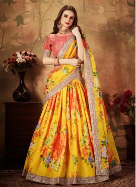 Yellow Color Trendy A Line Lehenga Choli