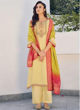 Yellow Embroidered Silk Designer Palazzo Suit