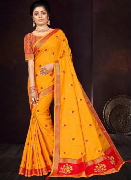 Yellow Embroidered Vichitra Silk Traditional Saree