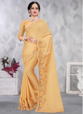 Yellow Engagement Satin Designer Saree