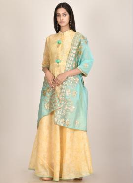 Yellow Fancy Chanderi Designer Kurti
