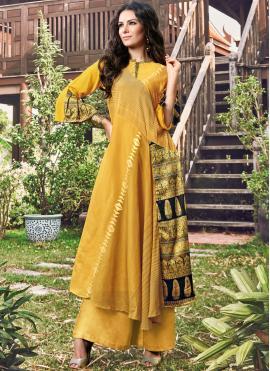 Yellow Fancy Fabric Festival Party Wear Kurti