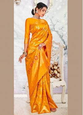 Yellow Festival Banarasi Silk Traditional Saree
