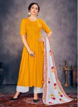 Yellow Rayon Print Readymade Suit