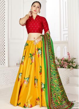 Yellow Satin Digital Print Readymade Lehenga Choli