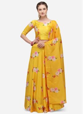 Yellow Satin Print Lehenga Choli