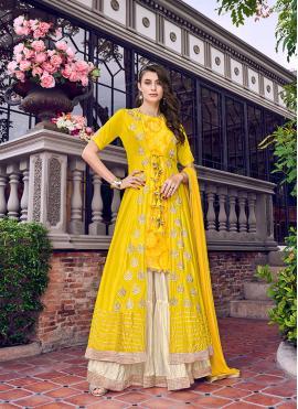 Yellow Satin Resham Designer Palazzo Salwar Kameez