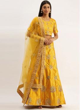 Yellow Satin Silk Lehenga Choli
