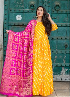 Yellow Silk Festival Readymade Suit