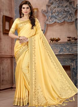 Yellow Silk Party Traditional Saree