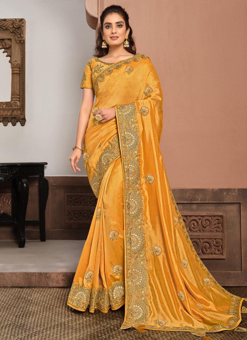 Yellow Silk Patch Border Traditional Designer Saree