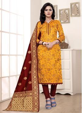 Yellow Weaving Churidar Salwar Kameez