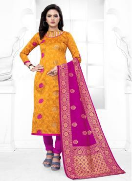 Yellow Weaving Churidar Salwar Suit