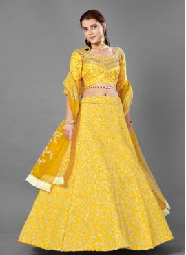 Yellow Zari Mehndi Lehenga Choli