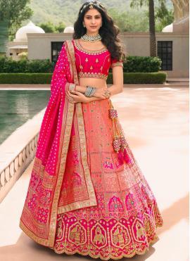 Zari Banarasi Silk Trendy Lehenga Choli in Pink